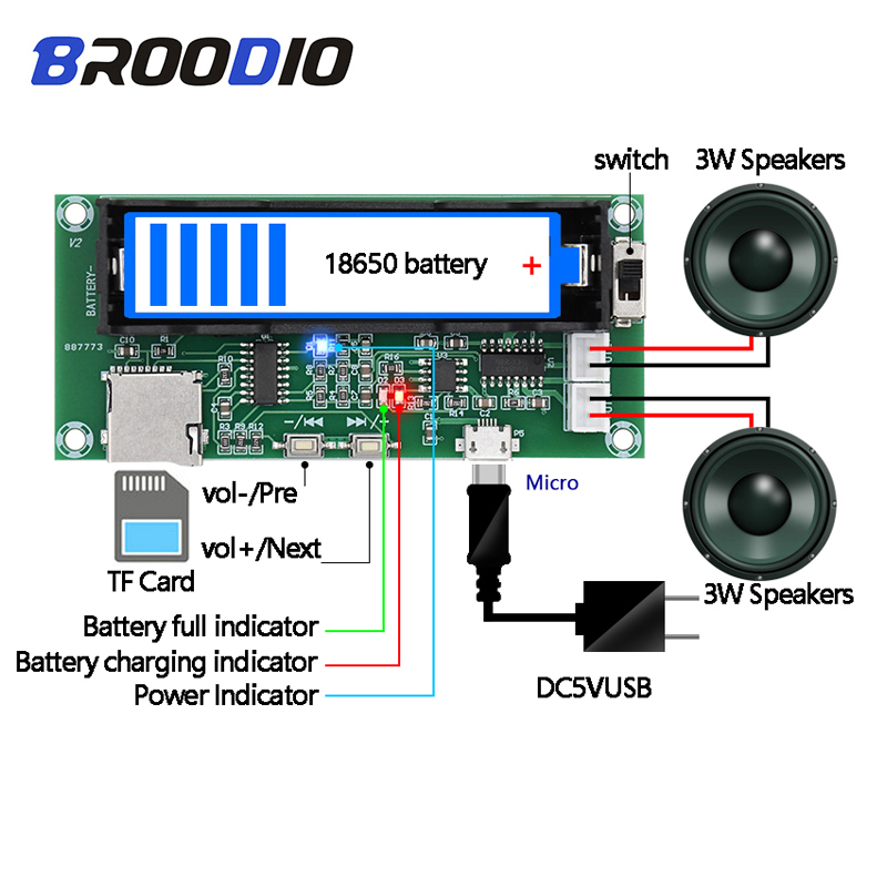PAM8403 Digital Amplifier Board Lithium Battery Holder Can Charged Dual Channel 2*3W Stereo Class D Amplifier DIY TF Card Player