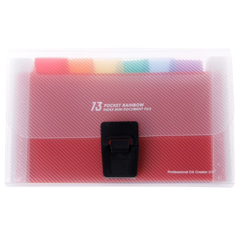 A6 Rainbow Expanding Document Bills Folder 13 Pocket School Accordion Folder Stationery Office Supplies C26