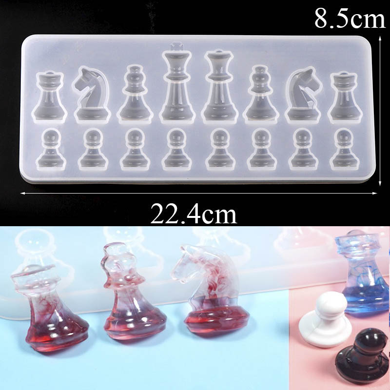 3D UV Resin Chess Mold Silicone Epoxy Resin Molds For DIY Jewelry Making Tools Resin Moldes Selicone Handmade Craft Findings