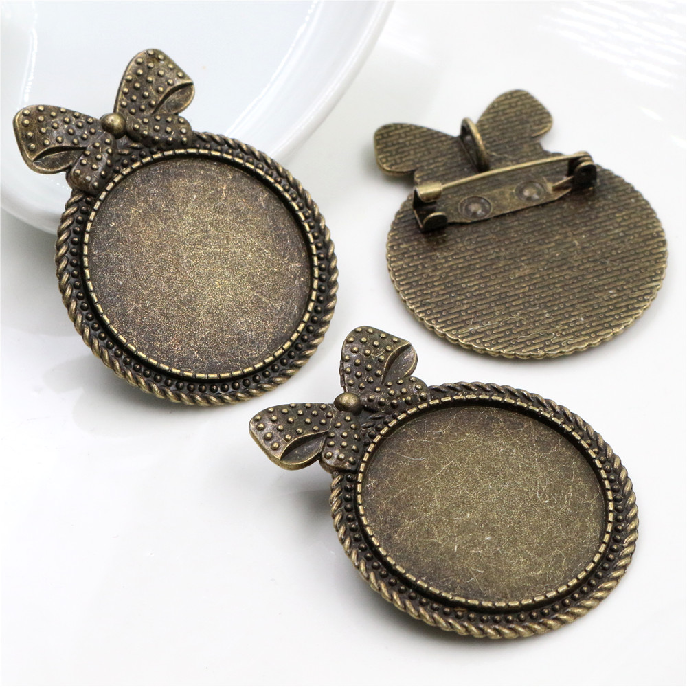 5pcs 30mm Inner Size Antique Bronze Brooch Pin Cabochon Base Setting  (B6-15)