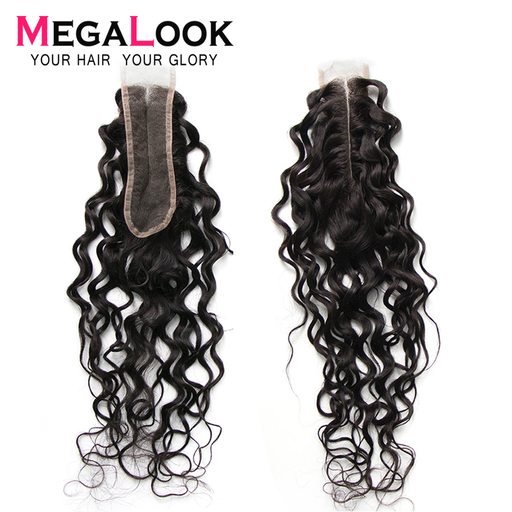 Kim K Closure 2x6 Closure Human Hair 2*6 Remy Water Wave Closures Brazilian Megalook Hair Middle Part Natural Color Swiss Lace