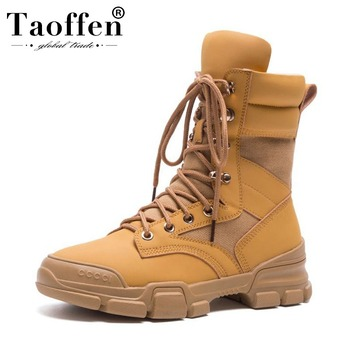 Botas Taoffen a la moda de invierno para mujer, Botas militares de cuero auténtico, Calzado cómodo de alta calidad, Botas de talla 35-42