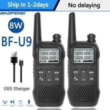 Портативная мини рация Baofeng, 2 шт., 8 Вт, USB, быстрая зарядка, 8 Вт, UHF, 400 470 МГц, Ham, CB, Портативный радиоприемник, набор, BF U9, Woki Toki