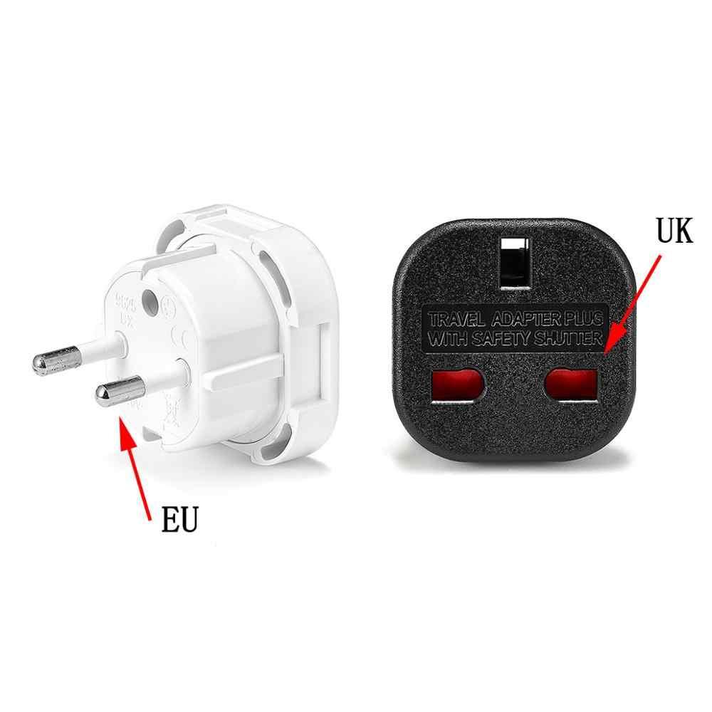 1 шт., Универсальный Переходник стандарта Великобритании и ЕС, 250 В, адаптер переменного тока, зарядное устройство, евро адаптер для путешествий, штепсельная вилка европейского стандарта, британская розетка