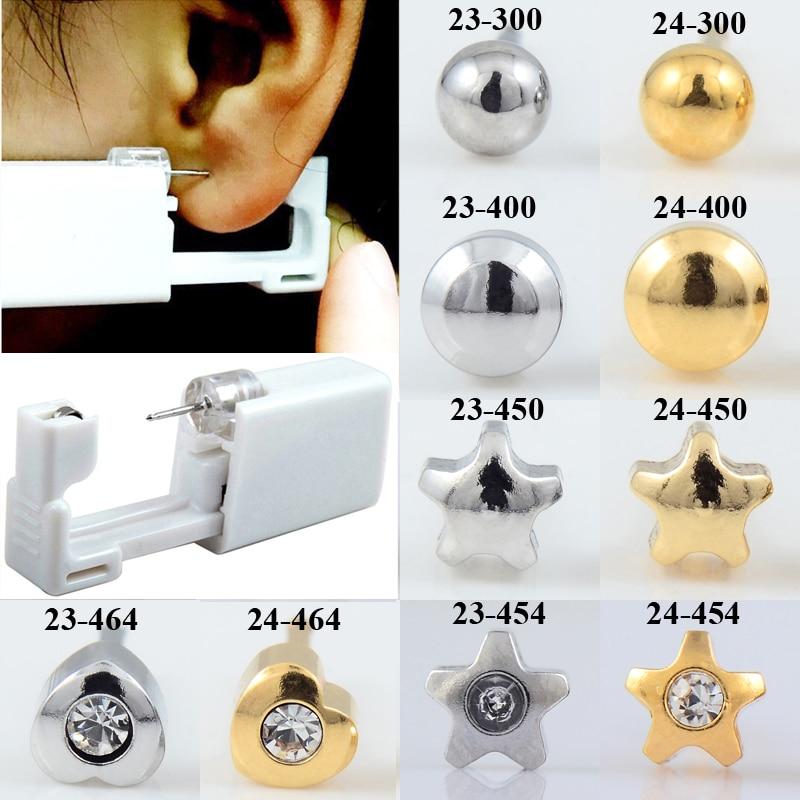 24pcs/box Fashion No Pain Ear Piercing Kit Disposable Safe Sterile Ear Stud Piercing Gun Piercer Tool Kit Earring Jewelry