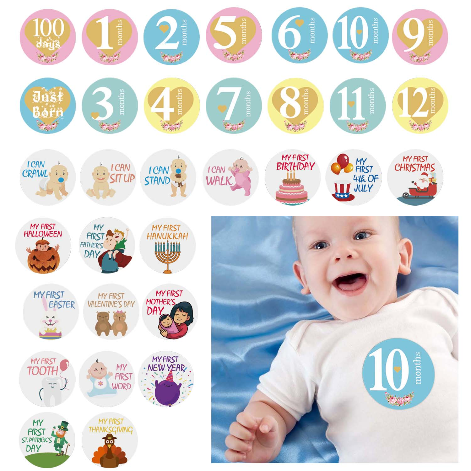 32 Sheet Round Infants Monthly Milestone Stickers Record 0-12 Months Growth For DIY Scrapbook Keepsake Photo Props