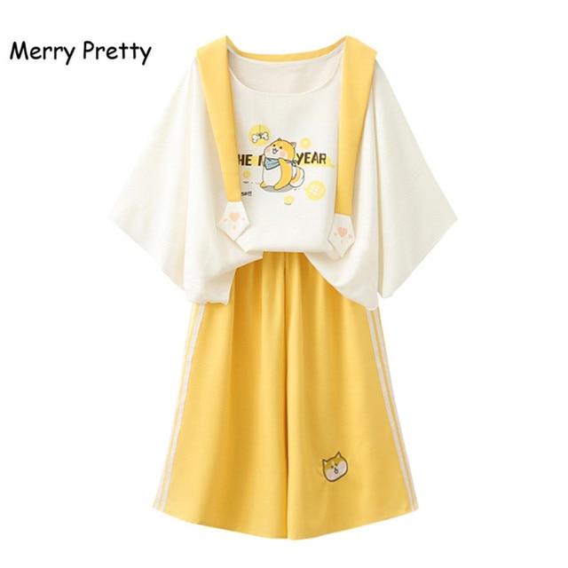 Merry Pretty harajuku sailor collar sweet white t shirt yellow wide leg pants 2 piece set women spring summer clothing set girl
