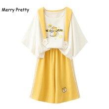 Vrolijk Pretty Harajuku Sailor Kraag Zoete Witte T shirt Geel Wijde Pijpen Broek 2 Delige Set Vrouwen Lente Zomer Kleding Set meisje