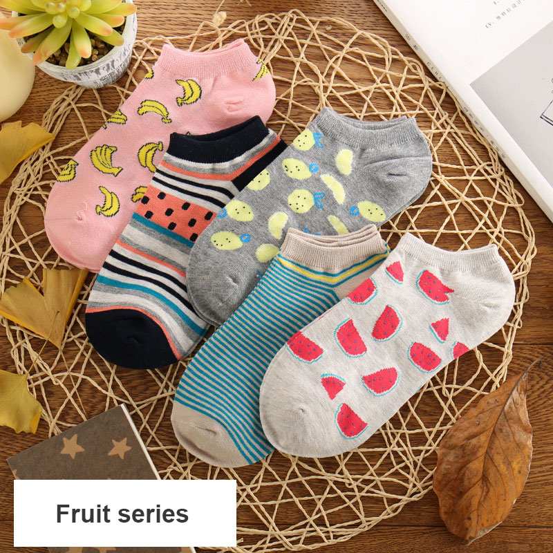 2019 New Fashion Women Short  Fruit Socks And Fruit Style Adult Socks Banana Watermelon Dragon Fruit Cotton Hoses