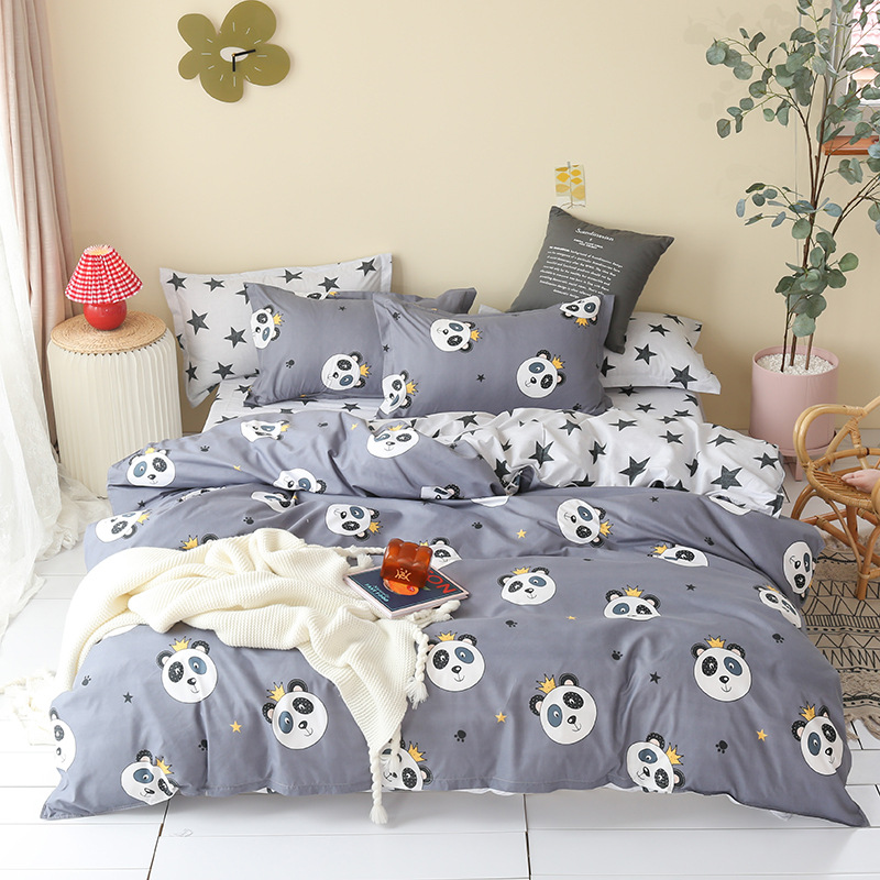 Cartoon Children Bed Linens Set Soft Comfortable Skin-friendly Bed Cover Pillowcase Sheet Boys Small Pandas Bedding Set <font><b>150*200</b></font> image