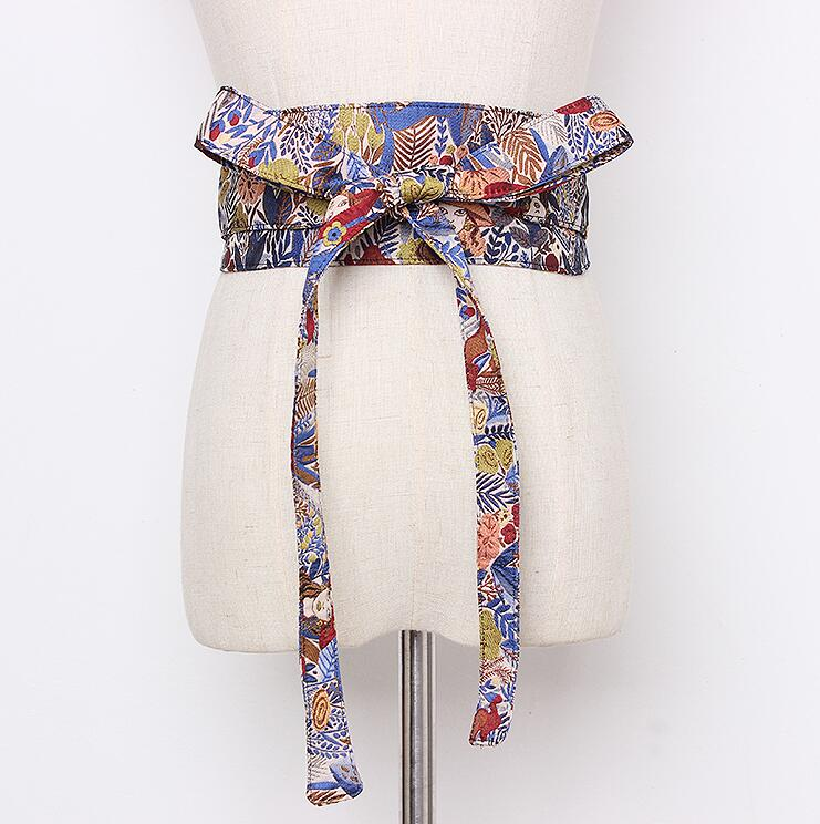 Women's Runway Fashion Vintage Print Cummerbunds Female Vintage Dress Corsets Waistband Belts Decoration Wide Belt R2160
