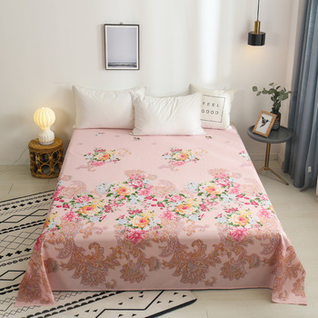 Floral Series Flat Bed Sheet Single Double Bed Coverlet Soft Breathable Home Textiles Bedspread Pillowcase Bed Set