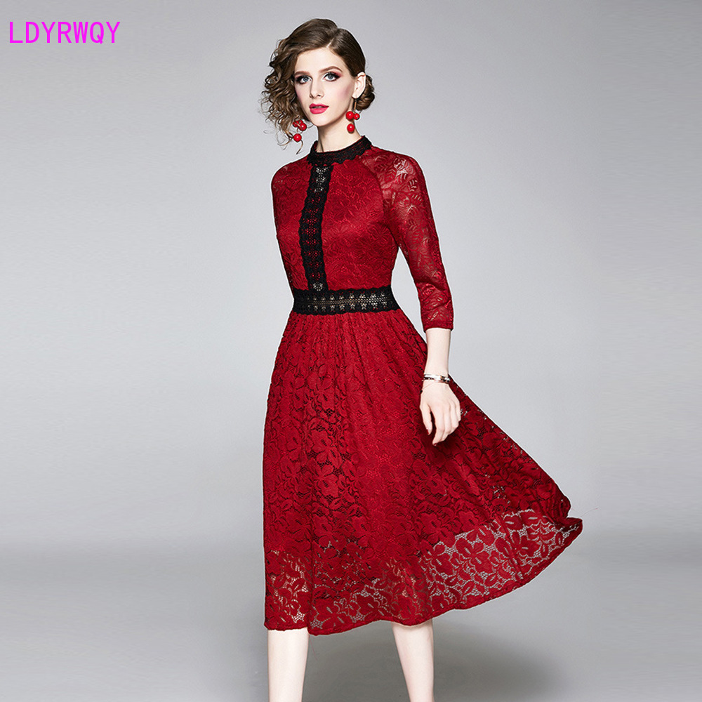 2019 European and American style autumn fashion women's temperament elegant lace new slim slimming seven-point sleeve dress