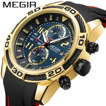 2019 MEGIR Mens Watches Silicone Strap Top Brand Luxury Waterproof Sport Chronograph Gold Quartz Wristwatch+Box