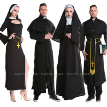 Carnival Men Women Monk Priest Nun Robe Gown Scarf Headpiece Medieval Missionary Virgin Mary Dress Coat Party Cosplay Costumes(China)