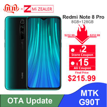 New Original Xiaomi Redmi Note 8 Pro 8GB RAM 128GB ROM 4500mah Moible phone 64MP camera MTK Helio G90T cellphone