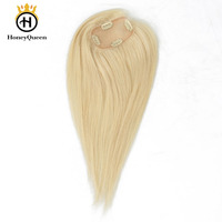 Blonde Hair Topper Clip Ins Toupee Hair For Women Brazilian Remy 100% Human Hair 2.5x4 Inch 1 Piece Extension Honey Queen