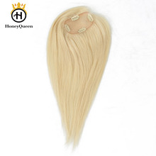 Blonde Hair Topper Clip Ins Toupee Hair For Women Brazilian Remy 100% Human Hair 2.5×4 Inch 1 Piece Extension Honey Queen
