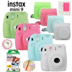Fujifilm instax mini 9 câmera de filme instantâneo + 20 tiros instax mini 8 filmes brancos fotos + carry caso saco/álbum/caneta/adesivos