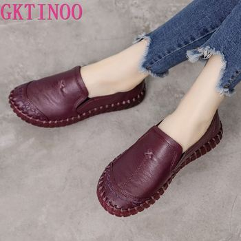 GKTINOO 2020 Fashion Women Shoes Genuine Leather Loafers Casual Soft Comfortable Flats