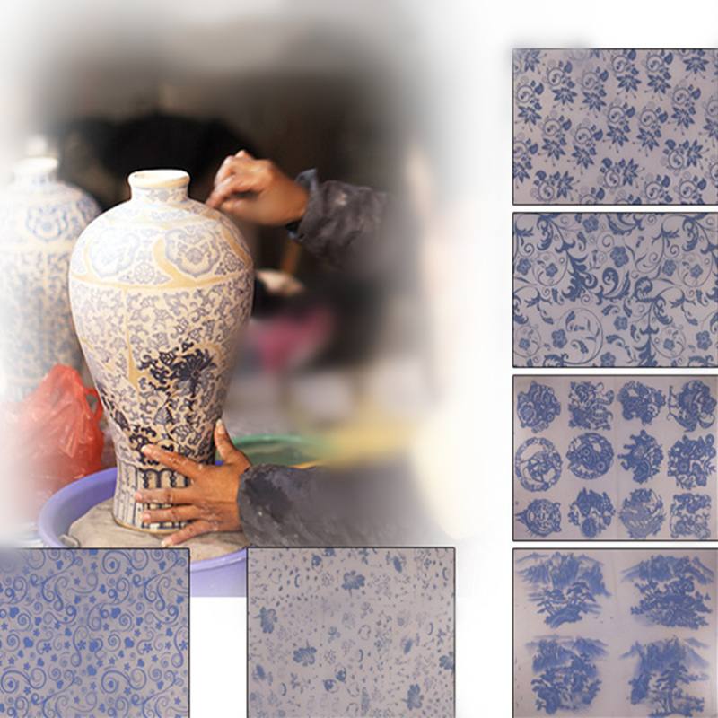 17pcs Pottery Transfer Paper Ceramic Glaze Blue And White Decals High Temperature Paper DIY Painted Pottery Clay Pottery Tools