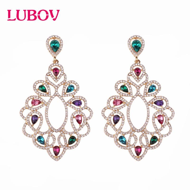 LUBOV Elegant Multi-color Water Drop Big Drop Earrings Crystal Opal Hollow Dangle Earrings For Women Party Jewelry 2019 New