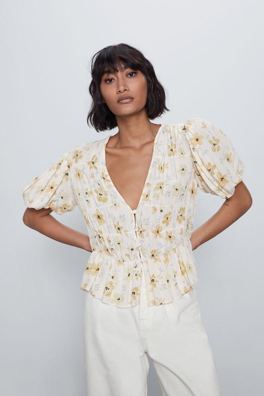 2020 New Spring Summer European V-neck Flowing Loose Fit Print Female Shirt Zaraing Vadiming Sheining Women Dress XDN9679