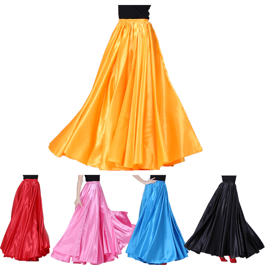 Adult Woman Dancer Performance Belly Dance Skirt Solid Color Shining Big Swing Gypsy Female Spanish Flamenco Dress Wholesale