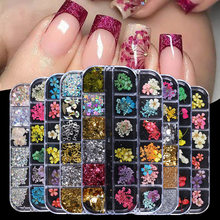 Mix flores secas decorações de unhas jóias natural folha floral adesivos 3d arte do prego projetos polonês manicure acessórios