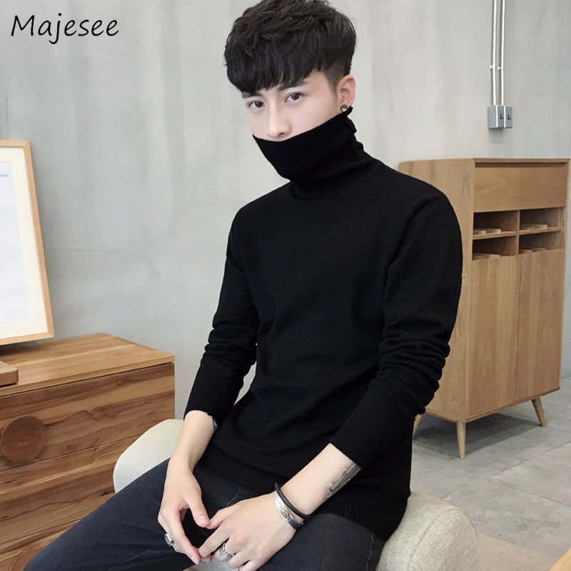Sweater Men Turtleneck Solid Casual Plus Size Korean Clothes Mens Sweaters Harajuku Comfortable All Match Males Pullover Fashion