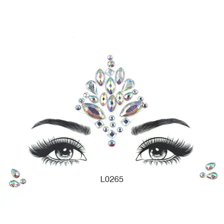 5  Acrylic Jewelry Stickers Colorful Rhinestone Face Stickers For Women Eyebrow Eye Masquerade Decor Resin DIY Drill Face Sticker