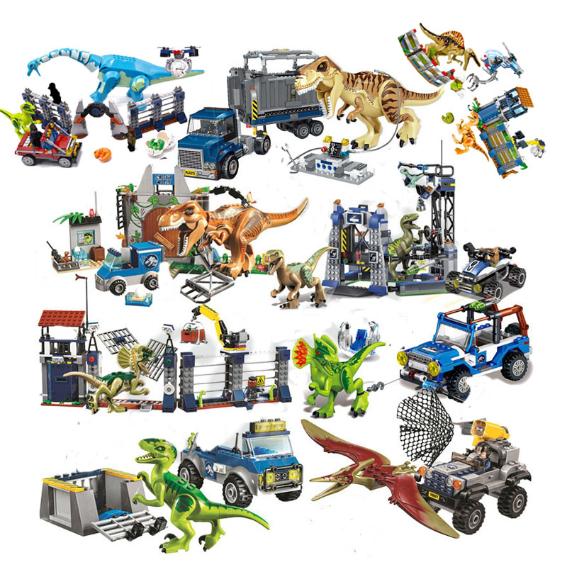 NEW 10925 Jurassic Parked Blue's Helicopter Pursuit Bricks Compatible With Legoing Jurassic Worlds Model Building Block DIY Toys