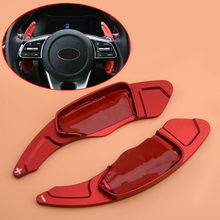 beler 1 Pair Aluminium Alloy Red Steering Wheel Shift Shifter Paddle Extension Fit For Kia Forte 2019 2020