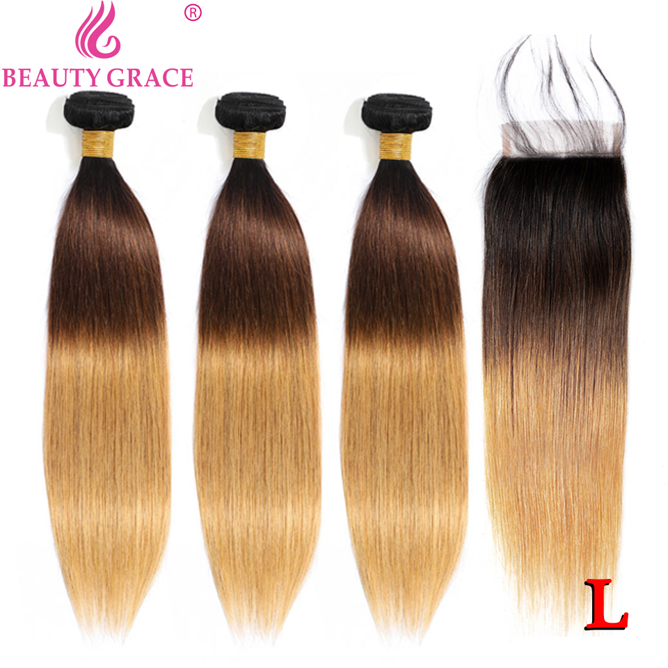T1b/4/27 Blonde Straight Hair 3 Bundles With Closure Ombre Human Hair Bundles With Closure Brazilian Hair Weave Bundles Non-remy