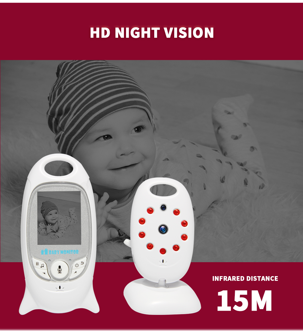 Wireless Video 2.0 Inch Color Baby Monitor Night Vision Baby Security Camera V601IR LED Temperature Baby Eletronica