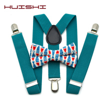 HUISHI Suspenders Kids 3 Clips Y Back Kid Colorful Christmas Suspender And Bow Tie Set  Bowtie Birthday Outfit Adjustable Gift