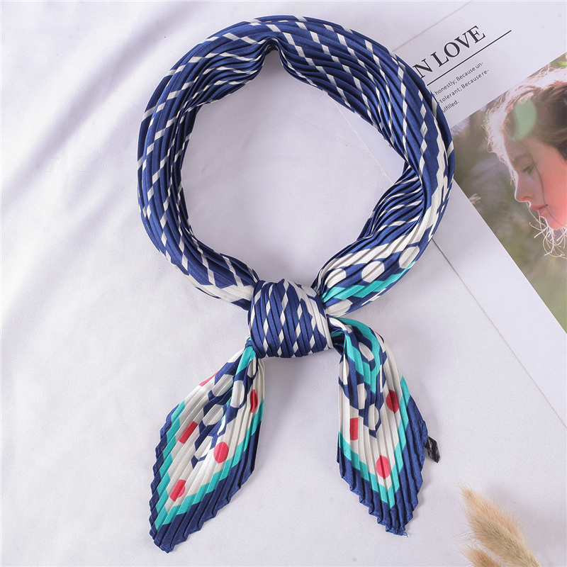 2020 Spring New Silk Women Scarf Foulard Crinkle Neck Scarf Hair Band Lady Dot Print Square Scarves Bandana