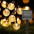 5 м 6 м Солнечная лампа хрустальный шар светодиодный гирлянда вспышка Водонепроницаемая сказочная гирлянда для наружного сада рождественск...