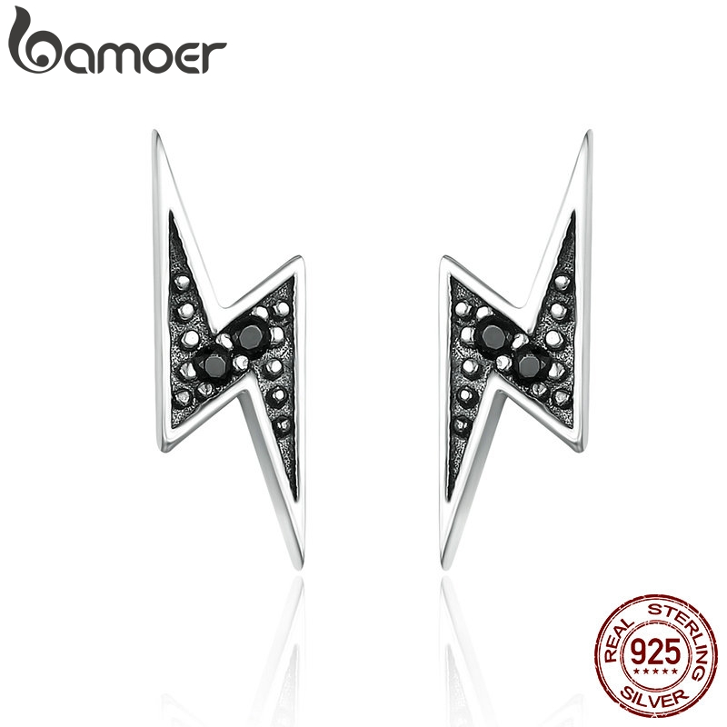 BAMOER New Arrival 100% 925 Sterling Silver Exquisite Lightning & Black CZ Stud Earrings For Women Fine Jewelry Brincos SCE156