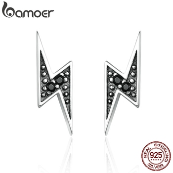 BAMOER 925 Sterling Silver Exquisite Lightning & Black CZ Stud Earrings