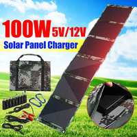 LEORY 100W Foldable Solar Panel Folding Solar Cells Charger 5V/12V 3A Dual USB Output Device Solar Panels for Smartphone OutdOOR