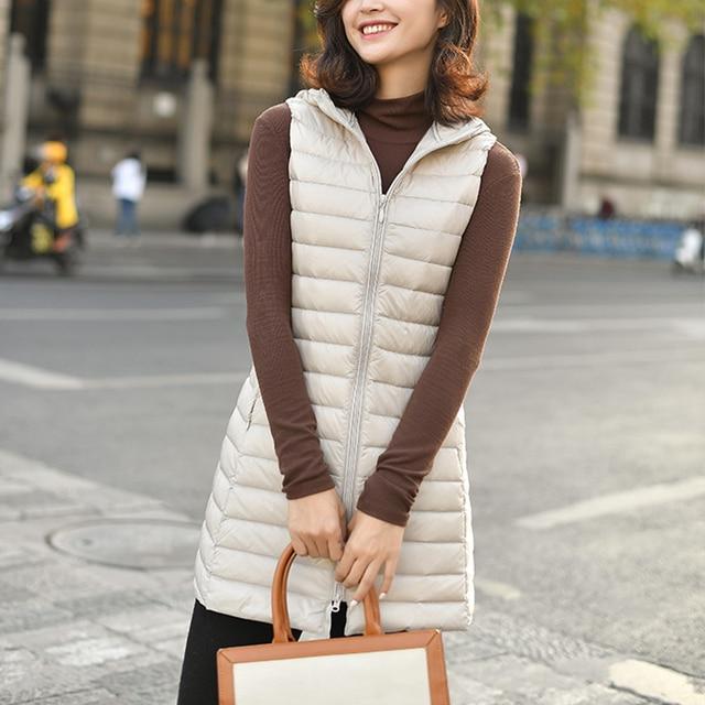 Fitaylor Winter Ultra Light White Duck Down Coat Women 4XL Plus Size Down Jacket Medium Long Vest Female Casual Zipper Outerwear 5