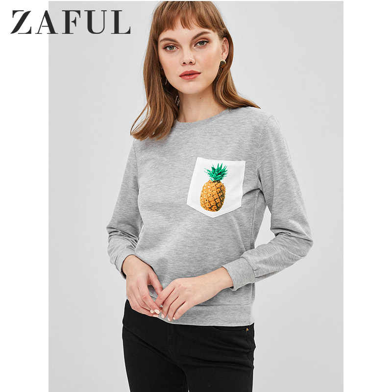 ZAFUL Pineapple Pocket Crew Neck Sweatshirt For Women Pullover Fruit Graphic Cute Girl Style Long Sleeve Newest 2019 Fashion