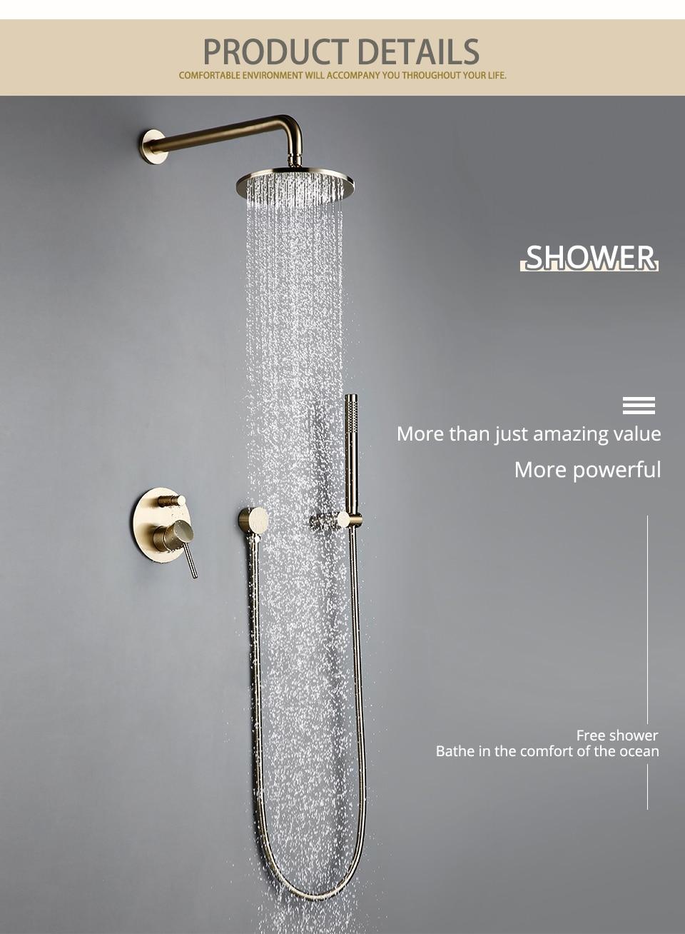 "Hea3da78fae064e28a1b516eacecb6464e Bathroom Bath Faucet Brass Diverter Mixer Tap Set Brushed Gold Rain Fall Valve System Kit Hand held 8-12""Shower Head Wall Arm"