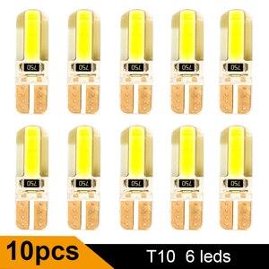 10PCS T10 W5W LED Car Interior Light Cob Marker lamp 12V 194 168 501 bulb Wedge Parking dome Light White Auto for Car Auto