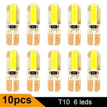 цена на 10PCS T10 W5W LED Car Interior Light Cob Marker lamp 12V 194 168 501 bulb Wedge Parking dome Light White Auto for Car Auto