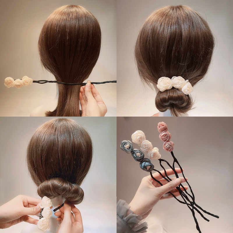 Frauen Wild Hair Ring Flower Magic Bun Maker Making Hair Tools Beauty M9J2