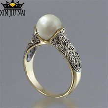 Pearl Ring Silver Retro golden Costume Jewelry The King Of The Ring Gives A Gift To A Woman Stainless Ringen Moonstone Ring(China)