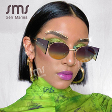 Vintage Steampunk Sunglasses Women Men 2020 Luxury Brand Oval Round Sun Glases Retro Punk Glasses Fashion Eyewear Shades UV400