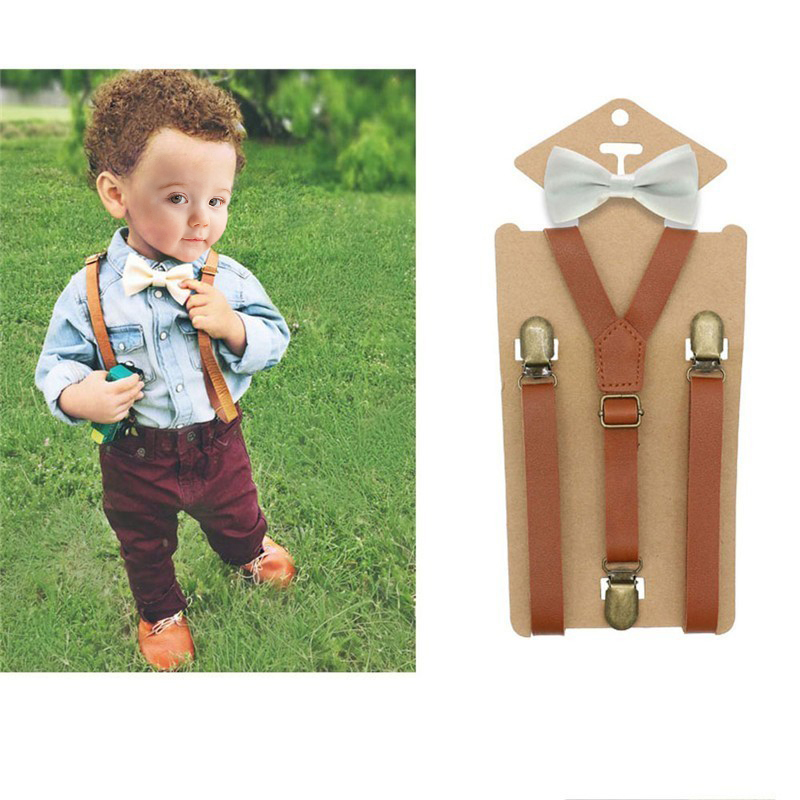 3 Clips Y Back Kid Brown Tan Leather Suspender And Bow Tie Ring Bearer Bowtie Set Birthday Outfit 80*1.5cm Adjustable(China)